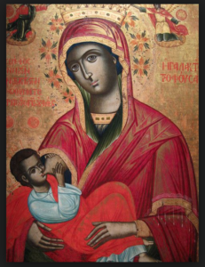 "Virgin Mary ""lactans"" , showing Mary breastfeeding Jesus. Painted in 1784. Byzantine"