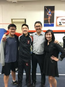 --------------- This is us on our 24th anniversary, celebrating Corban's senior night for gymnastics.